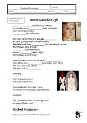 English Worksheet: Anorexia - song