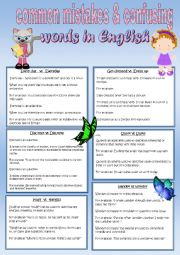 English Worksheet: Common Mistakes and Confusing Words in English