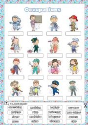 English Worksheet: Occupations- cut and paste activity
