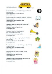English Worksheet: The Wheels on The Bus Lyrics