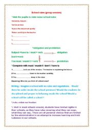 English Worksheet: school rules ( group session)