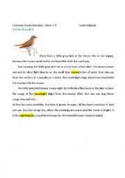 English Worksheet: Listening Comprehension A Little Grey Bird