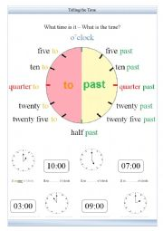 English Worksheet: Telling the Time - What time is it? worksheet