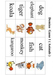English Worksheet: Domino Game 1 ( Animals )