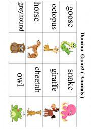 English Worksheet: Domino Game 2 ( Animals )