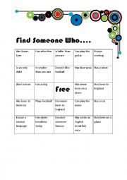 English Worksheet: Find someone who..