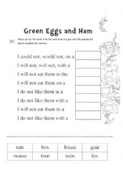 English Worksheets Green Eggs And Ham