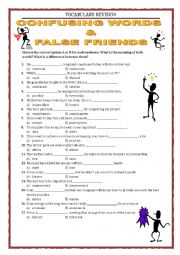 English Worksheet: VOCABULARY REVISION - CONFUSING WORDS AND FALSE FRIENDS