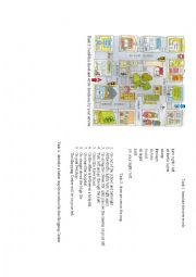 English Worksheet: Giving directions+map