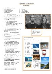 English Worksheet: Hymn for the Weekend - Coldplay