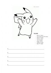 English Worksheet: Describe a Pokemon