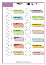English Worksheet: TELLING THE TIME WORKSHEET