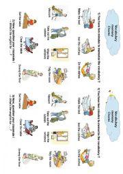 English Worksheet: vocabulary chores memory game