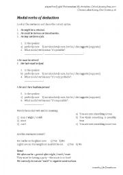 English Worksheet: Modal verbs of deduction guided discovery