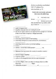 English Worksheet: Active vocabulary worksheet for the text about airports (English File Pre-intermediate 3rd edition Unit 3A)
