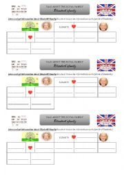 English Worksheet: listening : Elizabeth�s Family