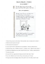 English Worksheet: Diary of a Wimpy Kid reading comprehension questions