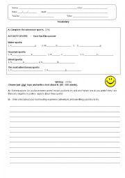 English Worksheet: extreme Sports Test _ 8th grade