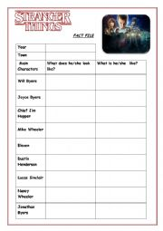 English Worksheet: STRANGER THINGS: CHARACTERS FACT FILE