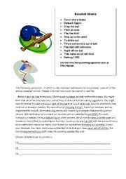 English Worksheet: Baseball Idioms
