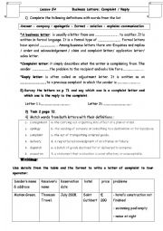 Lesson E4: Business Letters complaint/reply