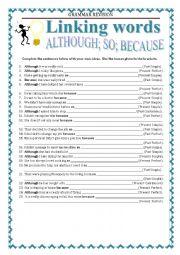 English Worksheet: GRAMMAR REVISION - LINKING WORDS