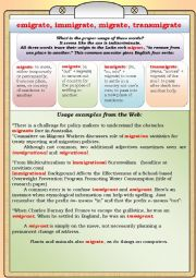 English Worksheet: Immigrate, emigrate, migrate, transmigrate