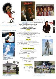 English worksheet: Michael Jackson. Main hits
