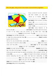 English Worksheet: Present tense simple and present tense progressive (3)