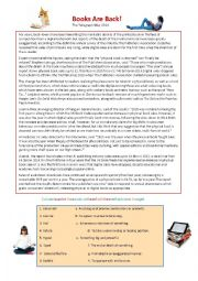 English Worksheet: Print Books vrs E-readers Story and Debate