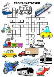 TRANSPORTS - crossword with pictures
