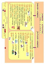 English Worksheet: Hobbies Indoor and Outdoor Mind Map