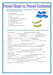 English worksheet: GRAMMAR REVISION - PRESENT SIMPLE vs PRESENT CONTINUOUS