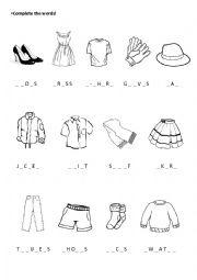 English Worksheet: Clothes Worksheet
