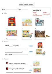English Worksheet: Where are you going?
