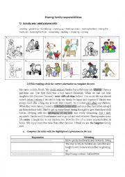 English Worksheet: worksheet about household chores