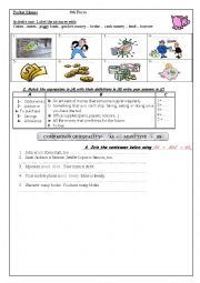 English Worksheet: worksheet about getting pocket money
