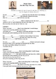 English Worksheet: Just the way you are (Song by Bruno Mars)