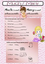 English Worksheet: much/ many