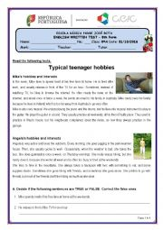 English Worksheet: Hobbies/Leisure activities - Test