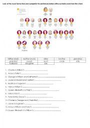 English Worksheet: Royal family tree - matching