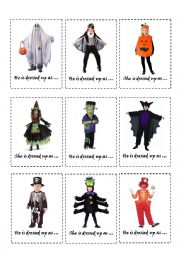 English Worksheet: HALLOWEEN BOARDGAME: COSTUME CARDS + RHYMING RIDDLE CARDS
