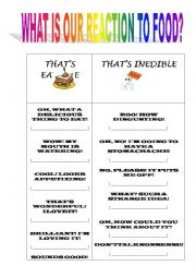 English worksheet: THE FUNCTIONAL LANGUAGE OF TAKING OR REJECTING FOOD