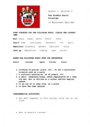 english worksheets big bang theory halloween episode season 1. Black Bedroom Furniture Sets. Home Design Ideas