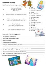 English Worksheet: Cinderella (disney cartoon) part 2
