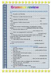 English worksheet: Grammar review 2