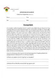 English Worksheet: Ecosystem worksheeet