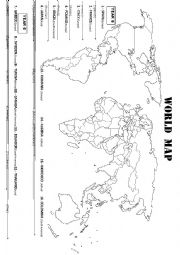 English Worksheet: WORLD MAP: FIND THESE COUNTRIES