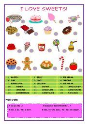 English Worksheet: I LOVE SWEETS!