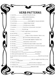 English Worksheet: Verb Patterns